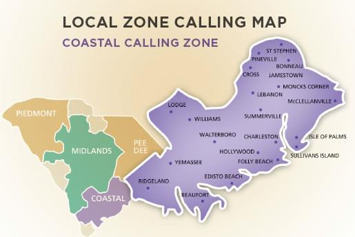 Local Zone Calling Map, Coastal Calling includes Ridgeland, Yemassee, Hollywood, Folly Beach, Beaufort, Sullivans Island, Isle of Palms, Summerville, Charleston, Lebanon, Cross, McClellanVille, Moncks Corner, Jamestown, Bonneau, Williams, Walterboro, Edisto Beach
