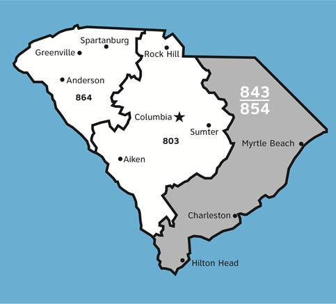 To ensure a continuing supply of telephone numbers, the new 854 area code will be added to the area served by 843